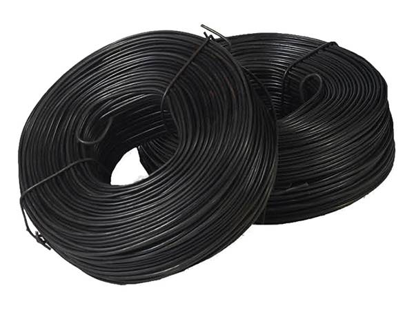 Two black annealed tie wires on the white background.